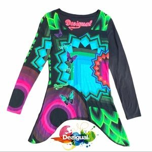 Desigual Why? Sonia Shark Bite Hem Long Sleeve Top